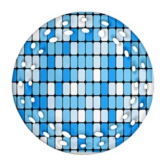 Ronded Square Plaid Blue Round Filigree Ornament (two Sides)