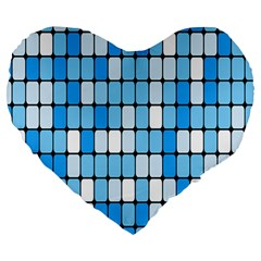 Ronded Square Plaid Blue Large 19  Premium Heart Shape Cushions by Jojostore