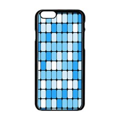 Ronded Square Plaid Blue Apple Iphone 6/6s Black Enamel Case