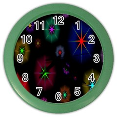 Star Circles Colorful Glitter Color Wall Clocks by Jojostore