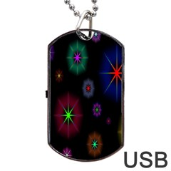Star Circles Colorful Glitter Dog Tag Usb Flash (two Sides)