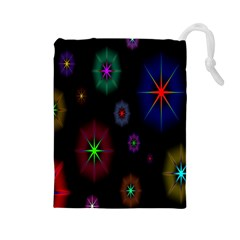 Star Circles Colorful Glitter Drawstring Pouches (large)  by Jojostore