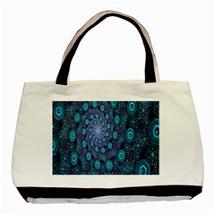 Illusion Spiral Rotation Shape Purple Flower Basic Tote Bag