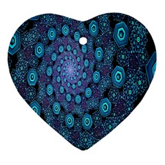 Illusion Spiral Rotation Shape Purple Flower Heart Ornament (two Sides) by Jojostore