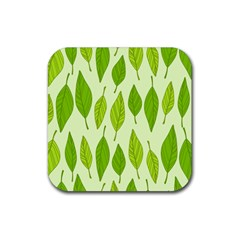 Spring Leaf Green Rubber Coaster (square)  by Jojostore