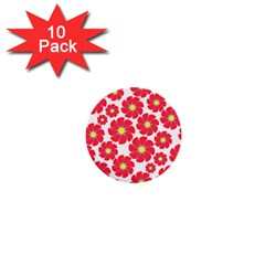 Seamless Floral Flower Red Fan Red Rose 1  Mini Buttons (10 Pack)