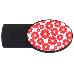 Seamless Floral Flower Red Fan Red Rose Usb Flash Drive Oval (4 Gb)