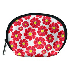 Seamless Floral Flower Red Fan Red Rose Accessory Pouches (medium)
