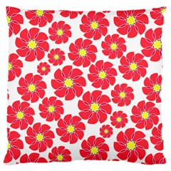 Seamless Floral Flower Red Fan Red Rose Large Flano Cushion Case (one Side) by Jojostore