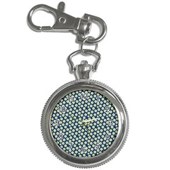 Floral Seamless Flower Blue Key Chain Watches by Jojostore