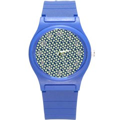Floral Seamless Flower Blue Round Plastic Sport Watch (s) by Jojostore