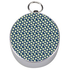 Floral Seamless Flower Blue Silver Compasses by Jojostore