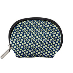 Floral Seamless Flower Blue Accessory Pouches (small)