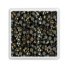 Clipart Chromatic Floral Gold Flower Memory Card Reader (square)