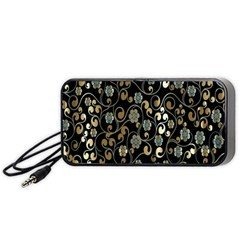 Clipart Chromatic Floral Gold Flower Portable Speaker (black)