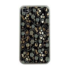 Clipart Chromatic Floral Gold Flower Apple Iphone 4 Case (clear)