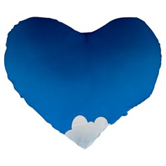 Clouds Illustration Blue Sky Large 19  Premium Flano Heart Shape Cushions