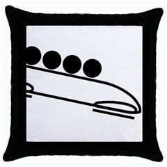 Bobsleigh Pictogram Throw Pillow Case (black) by abbeyz71