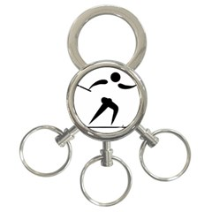 Cross Country Skiing Pictogram 3 Ring Key Chains by abbeyz71