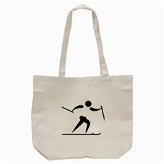 Cross Country Skiing Pictogram Tote Bag (cream) by abbeyz71