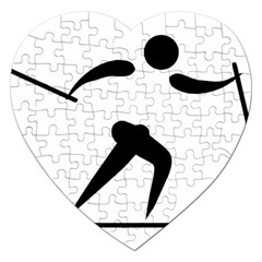 Cross Country Skiing Pictogram Jigsaw Puzzle (heart) by abbeyz71