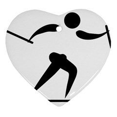 Cross Country Skiing Pictogram Heart Ornament (two Sides) by abbeyz71