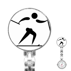 Cross Country Skiing Pictogram Stainless Steel Nurses Watch by abbeyz71