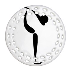 Figure Skating Pictogram Ornament (round Filigree) by abbeyz71