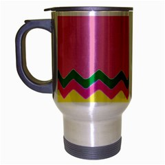 Easter Chevron Pattern Stripes Travel Mug (silver Gray) by Nexatart