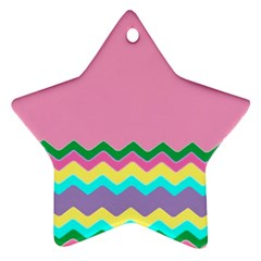 Easter Chevron Pattern Stripes Star Ornament (two Sides)