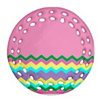 Easter Chevron Pattern Stripes Ornament (Round Filigree) Front