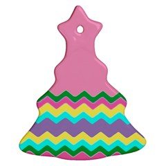 Easter Chevron Pattern Stripes Christmas Tree Ornament (two Sides) by Nexatart