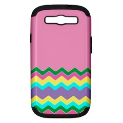 Easter Chevron Pattern Stripes Samsung Galaxy S Iii Hardshell Case (pc+silicone) by Nexatart