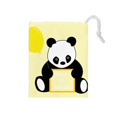 First Birthday Panda Card Drawstring Pouches (medium)  by Nexatart