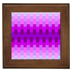 Geometric Cubes Pink Purple Blue Framed Tiles