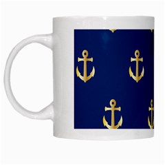 Gold Anchors Background White Mugs
