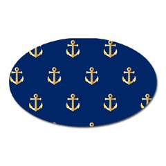 Gold Anchors Background Oval Magnet