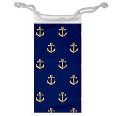 Gold Anchors Background Jewelry Bag
