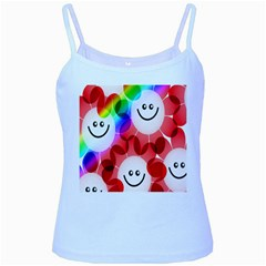 Happy Flowers Baby Blue Spaghetti Tank