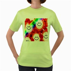 Happy Flowers Women s Green T Shirt