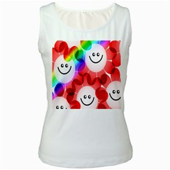 Happy Flowers Women s White Tank Top