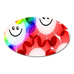 Happy Flowers Oval Magnet
