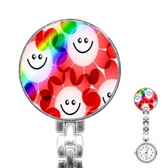 Happy Flowers Stainless Steel Nurses Watch by Nexatart