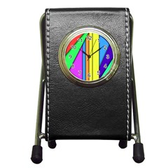 More Color Abstract Pattern Pen Holder Desk Clocks by Nexatart