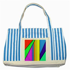 More Color Abstract Pattern Striped Blue Tote Bag by Nexatart