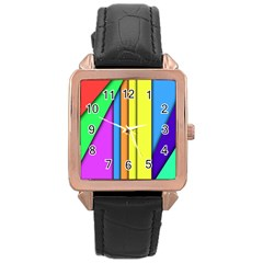 More Color Abstract Pattern Rose Gold Leather Watch