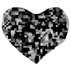 Noise Texture Graphics Generated Large 19  Premium Flano Heart Shape Cushions by Nexatart