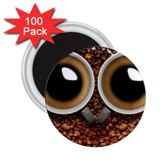 Owl Coffee Art 2 25  Magnets (100 Pack)  by Nexatart