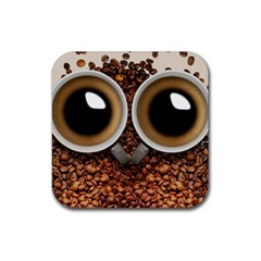 Owl Coffee Art Rubber Square Coaster (4 Pack)  by Nexatart