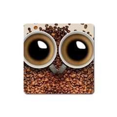 Owl Coffee Art Square Magnet